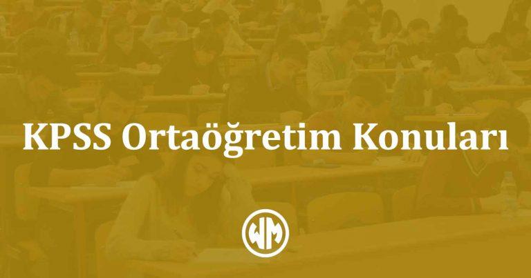 KPSS Ortaöğretim Konuları