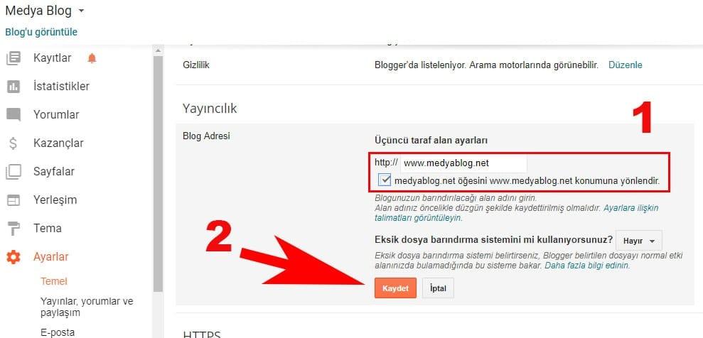 Blogger alan adı kaydet